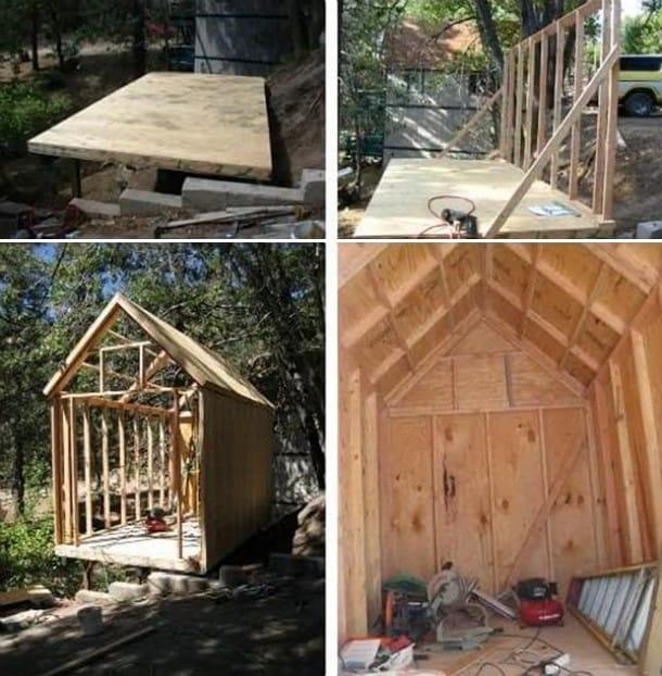 estructura mini casa de madera