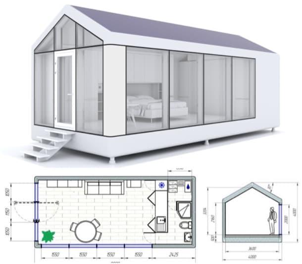render dimensiones casita prefabricada modulOne