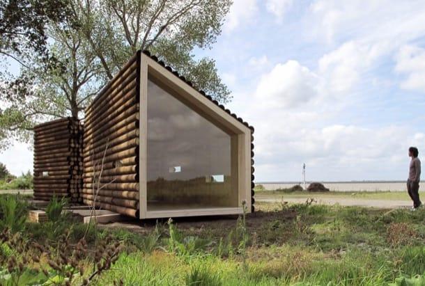 Refugio con troncos de madera